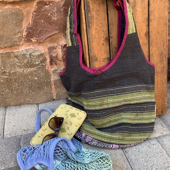 fire monkey Handbags - ✨VINTAGE RECYCLED SARI KANTHA HOBO TOTE BAG✨